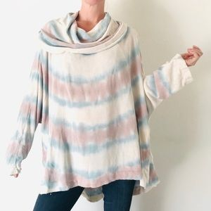 Free People Tie Dye Cowl neck cozy tunic